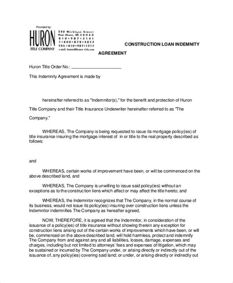 indemnification letter template 10 indemnity agreements free sle exle format