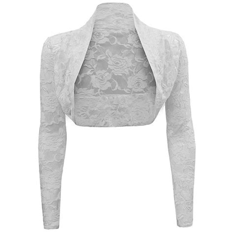 womens sheer mesh floral lace sleeve shrug bolero cardigan crop top sweater
