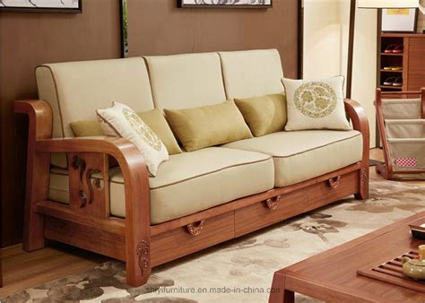 Sofa Set Made Of Wood by China Comfortable Living Room Home Furniture Solid Wooden