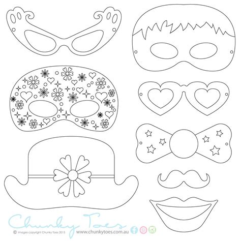 printable photo booth props to color kids colouring in masks photo booth props rainy day