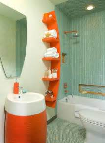 Orange Bathroom Decorating Ideas by Awesome Bathroom Decor With Blue Wall Tiles Orange