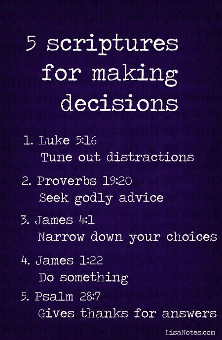 5 scriptures for decisions truths god decisions and messages