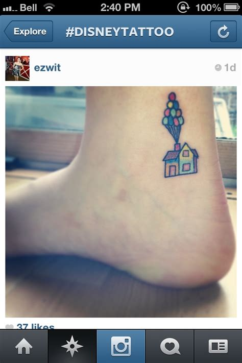 pixar tattoo up ankle disney pixar pop culture tattoos