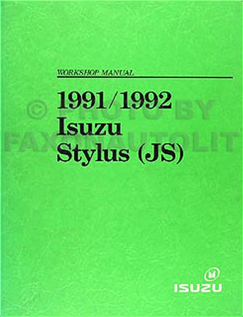 1991 1992 isuzu stylus repair shop manual original