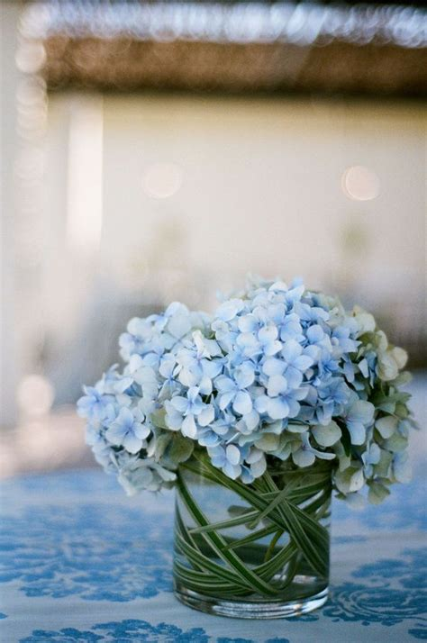 blue hydrangea centerpiece blue hydrangea wedding flowers