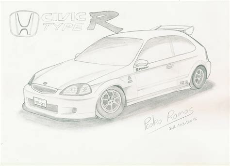 R Sketches by Honda Civic Drawing Www Pixshark Images Galleries