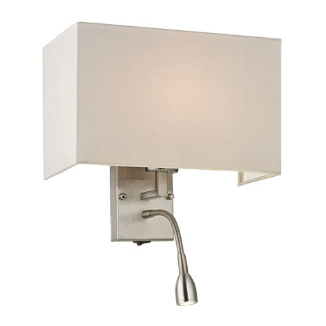 Switched Wall Sconce Modern Led Switched Sconce Wall Light With White Shade In Brushed Nickel Finish 17154 2 Led