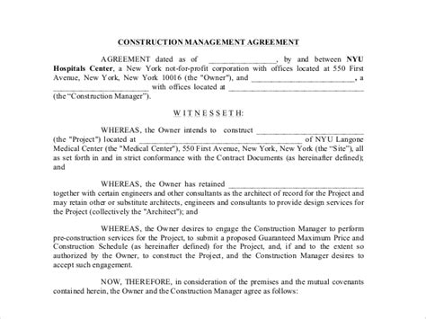 9 Sle Construction Management Forms Sle Forms Construction Management Agreement Template