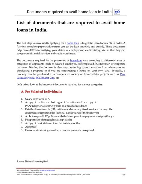 Mortgage Letter Requirements List Of Documents That Are Required To Avail Home Loans In India