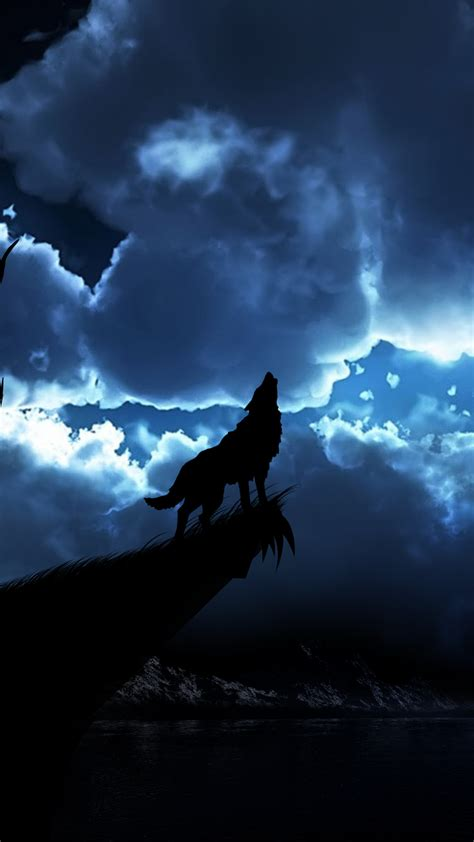 wolf night wallpaper  iphone