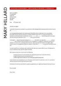 Office Cover Letter Template by Office Manager Cover Letter Exle