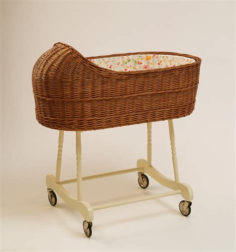 wicker baby bassinet baby crib fragilis brown
