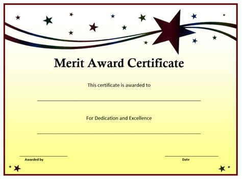 Word Award Certificate Template by Merit Award Certificate Template Word Templates