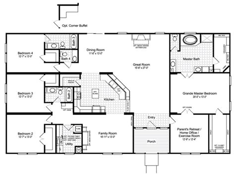 palm harbor modular home floor plans the hacienda iii vrwd76d3 or 41764a home floor plan
