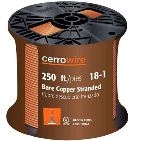 cerrowire 250 ft 18 1 stranded bare copper grounding wire
