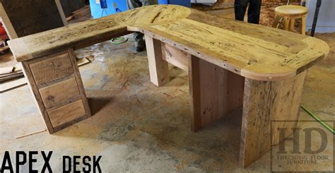 Reclaimed Wood Corner Desk Custom Reclaimed Wood Desks Angled Design