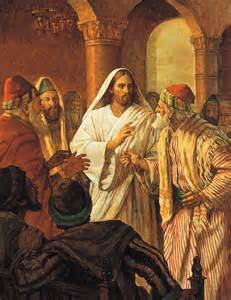 Jesus christ healing a man with a withered hand