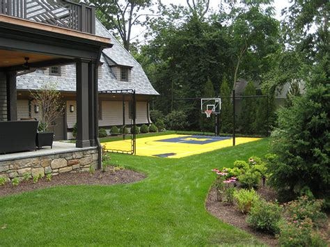 backyard landscaping design ideas with basketball court
