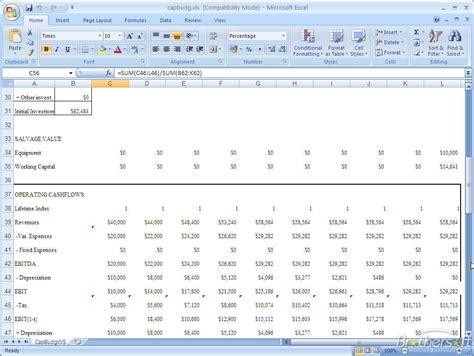 capital budgeting template free capital budgeting analysis capital