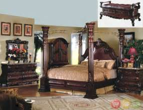 Southton Canopy King Bedroom Traditional Canopy Bed W Leather Bedroom Set W Marble
