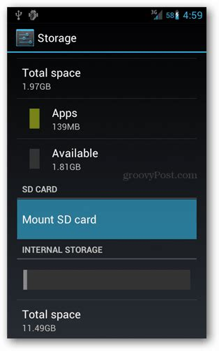 mount sd card android how to un mount an android sd card before removing it groovypost