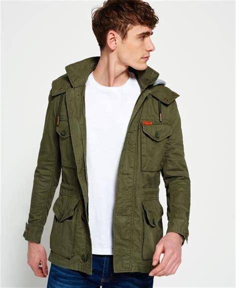 service jacket mens rookie service parka jacket in fury green superdry