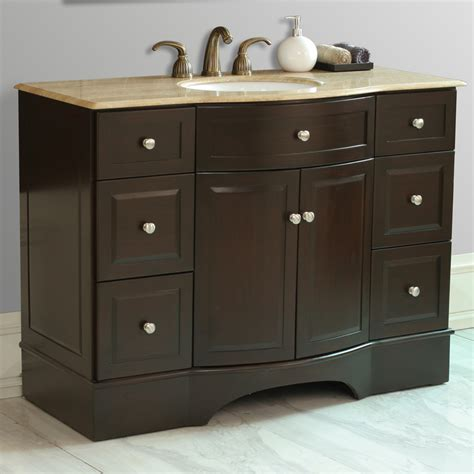 dark brown bathroom vanity stufurhome 48 quot lotus single sink vanity with travertine