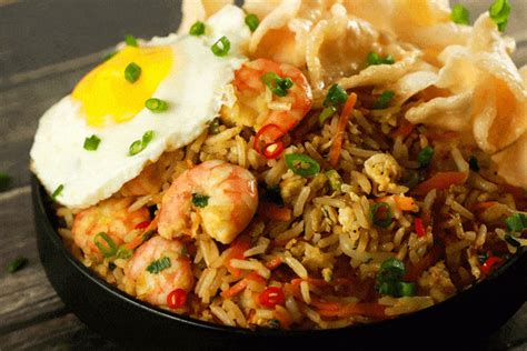 prawn nasi goreng spicy indonesian fried rice scrambled