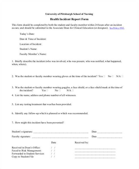 Medical Incident Report Sle Letter