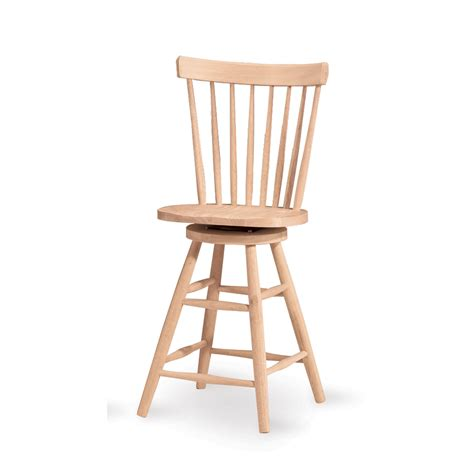 Wood Swivel Bar Stool International Concepts Copenhagen 24 Inch Unfinished Wood Swivel Bar Stool On Sale