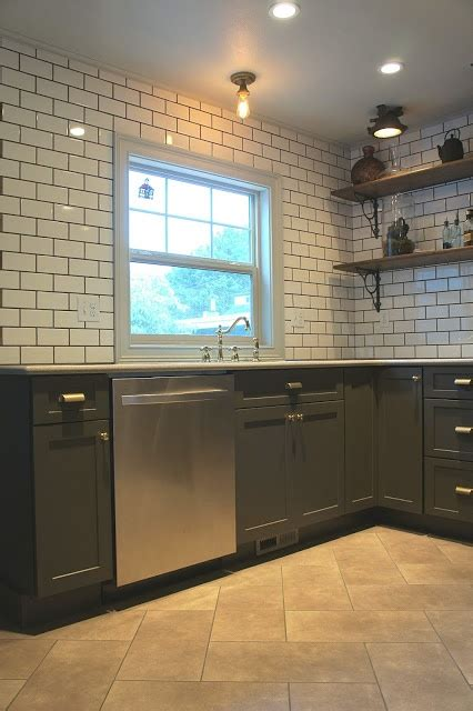 metro cabinet and flooring metro tiles grey grout dark cabinets wood shelves with