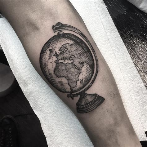 world tattoos world globe dotwork style