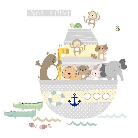 noah ark wall stickers yellow grey noah s ark fabric wall stickers by littleprints notonthehighstreet