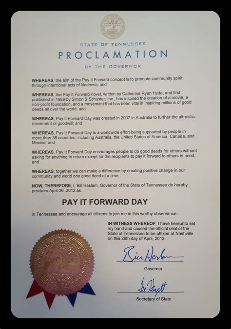 obtain a proclamation pay it forward day
