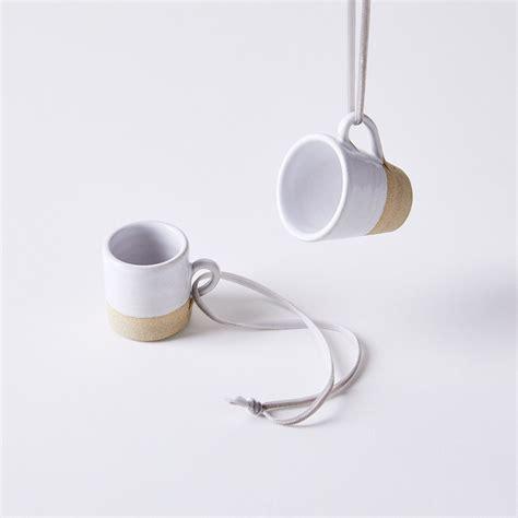 handmade stoneware mug ornaments  food