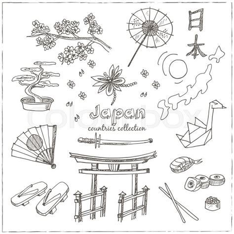 doodle japan doodle japan symbols set sketchy icons set