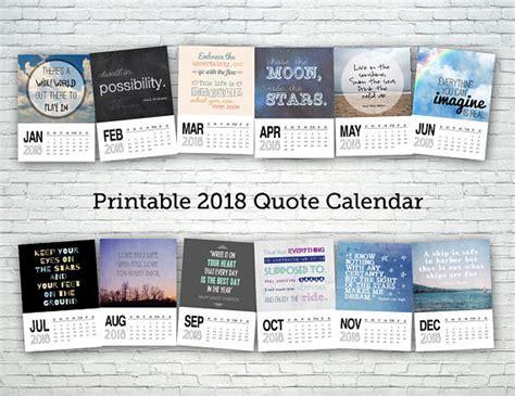 Calendar 2018 Quotes Printable Calendar 2018 Quote Calendar Digital Calendar