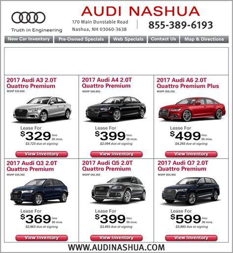 audi specials deals audi nashua specials new car lease deals