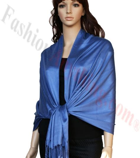 Pashmina Satin Motif 2 satin pashmina wrap cornflower blue luxury solid pashmina