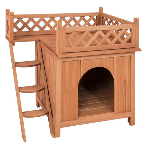 wood dog house best choice products wood dog house shelter with raised roof balcony ebay