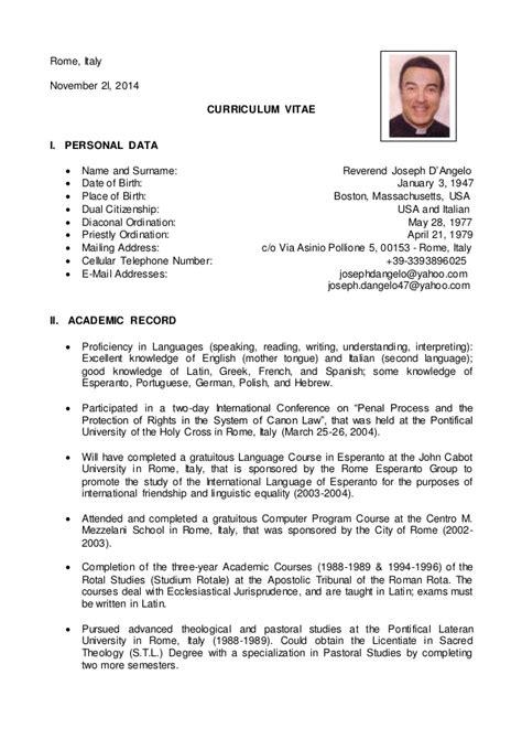 Copy Of Cv by Curriculum Vitae November 21 2014 New Copy