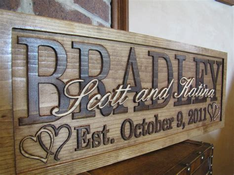 Handcrafted Wood Signs - personalized family name signs custom wedding gift carved