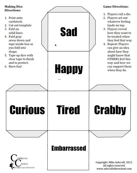 printable emotions dice pin by donna kelliegh on preschool feelings pinterest