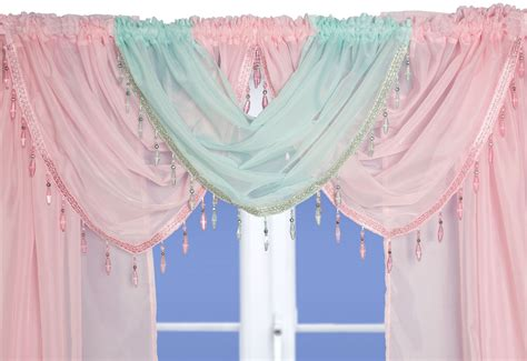 pastel curtains pastel green beaded voile swags and tails nets and