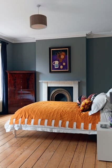 orange and grey colour scheme bedroom decorating