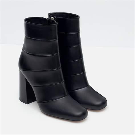 high heel black ankle boots zara high heel combined leather ankle boots in black lyst