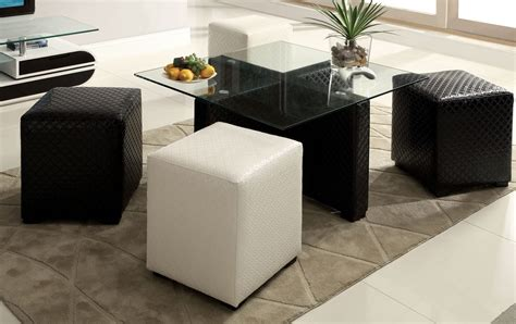 Coffee Table With 4 Ottomans Ruti Black White Padded Leather Glass Top Coffee Table 4 Ottomans