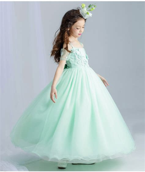 Dress Princess Kid Maroon Mint mint green tulle lace wedding dress ankle length appliques bead prom