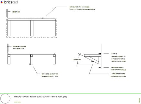 Corian Details Typical Steel Support For A Vanity Top Aia Cad Details