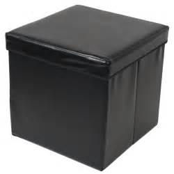 Leather Ottoman Box Ottoman Large Faux Leather Folding Storage Pouffe Box